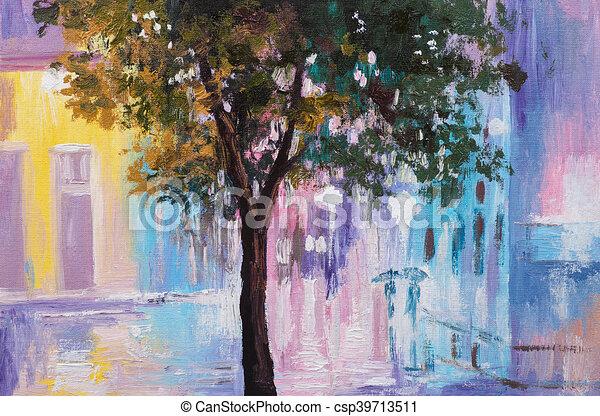 Kunst Gemälde gehen oel kunst bunte impressionismus abstrakt regen