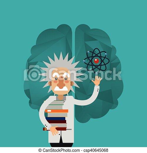 Gehirn, bild, ikone, albert einstein. Bild, albert, abbildung ...