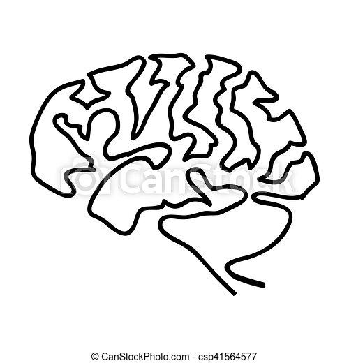 Gehirn, bild, menschliche , ikone. Gekritzel, bild, abbildung ...