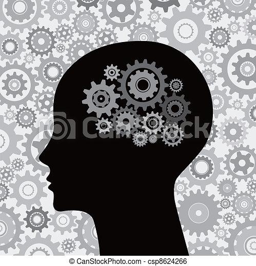 Kopf und Gehirngetriebe im Hintergrund - csp8624266