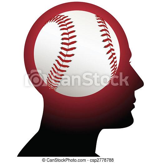 Mann mit Baseball-Sport im Gehirn - csp2778788