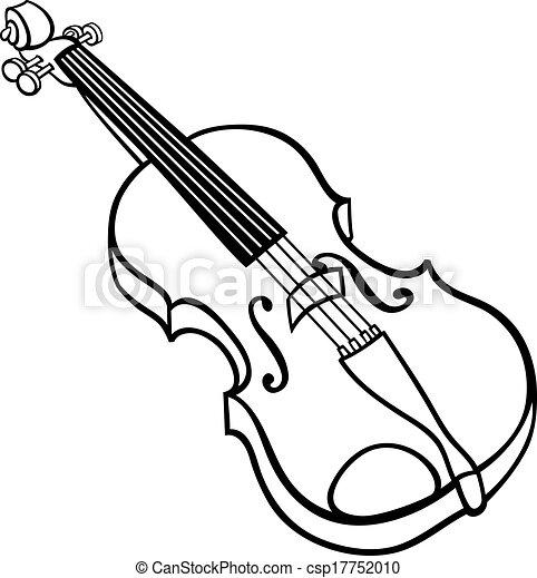 Geige, färbung, karikatur, abbildung, seite. Färbung, kunst ...