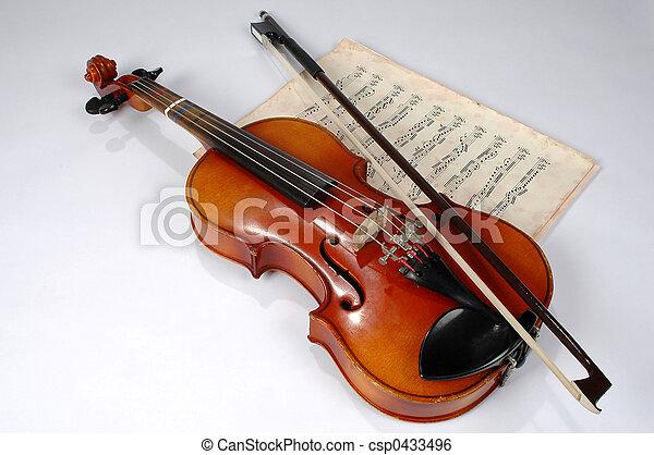 geige, musik, weinlese, blatt - csp0433496