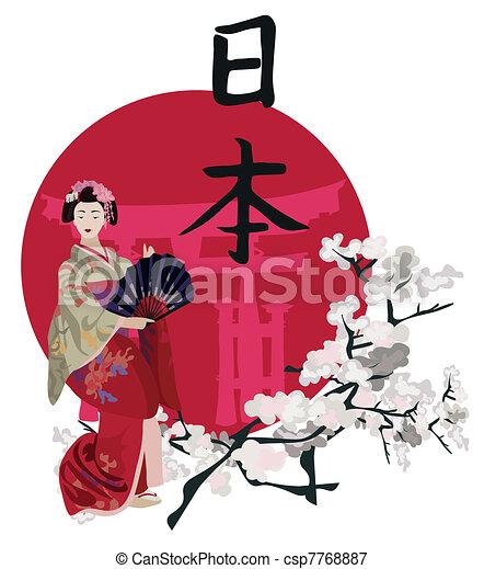 Geisha and Kanji - csp7768887