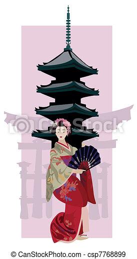 Geisha and Pagoda - csp7768899