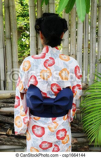 Geisha De Dos kimono., afficher, dos, elle, geisha.
