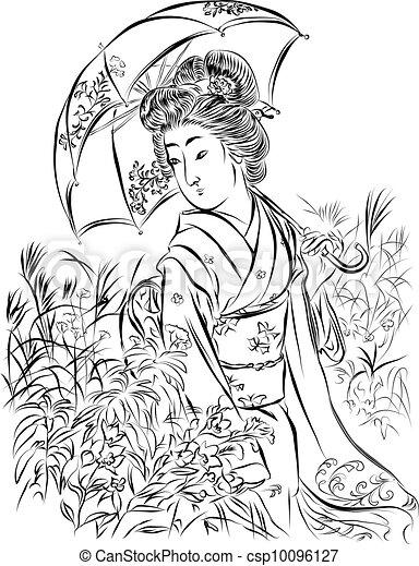 Geisha With Umbrella Vector Illustration