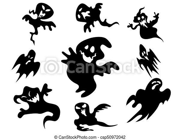 Geist, schwarz, halloween, ungefähr, hintergrund. Geist,... EPS ...