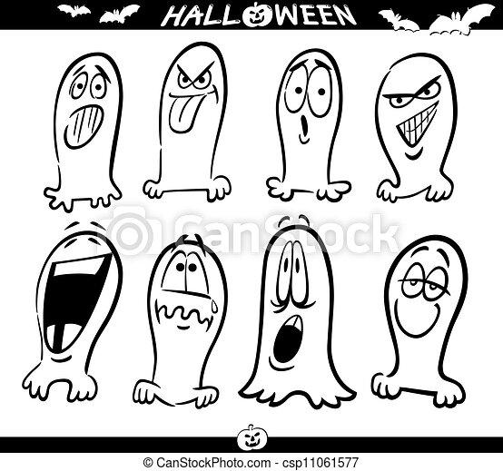 Geister, färbung, halloween, emoticons. Lustiges, satz,... Vektoren ...