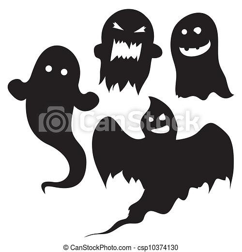 Geister, vektor, halloween, silhouetten. Geist, satz,... Vektoren ...