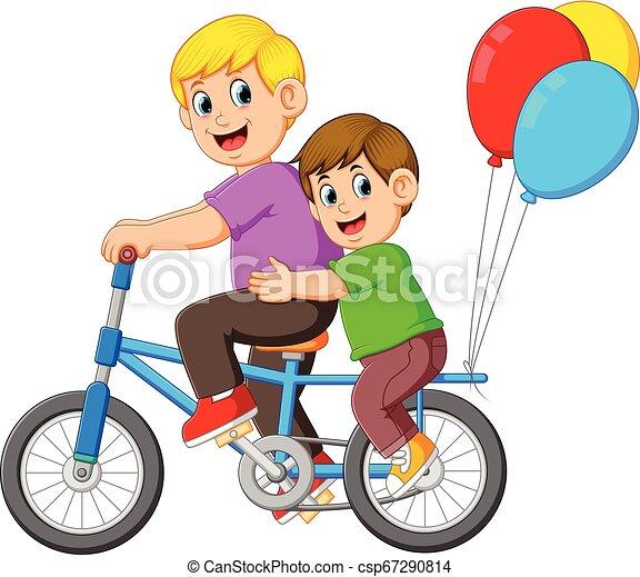geitje, paardrijden, vader, vrolijke , fiets - csp67290814