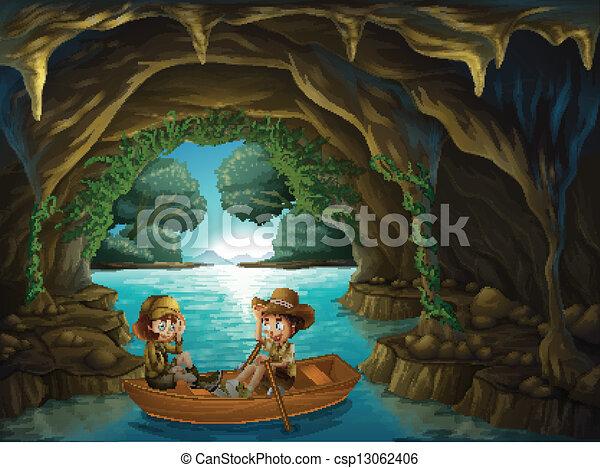geitjes, houten, grot, twee, paardrijden, scheepje - csp13062406
