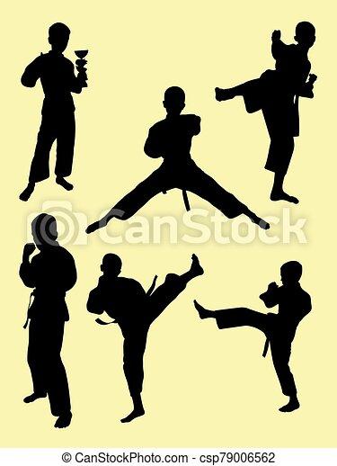 geitjes, karate, 03., silhouette - csp79006562