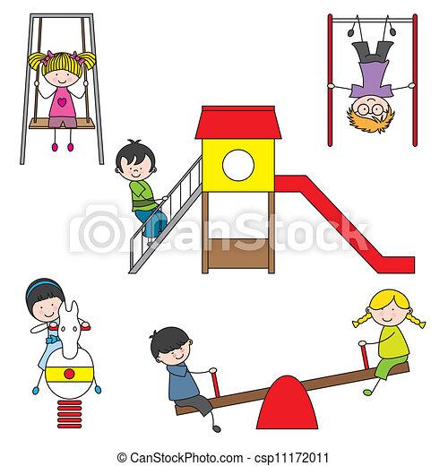 geitjes, park, spelend - csp11172011