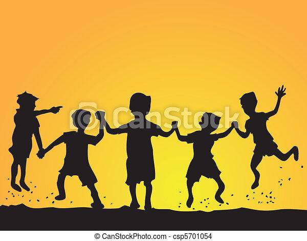 geitjes, silhouette, spelend - csp5701054