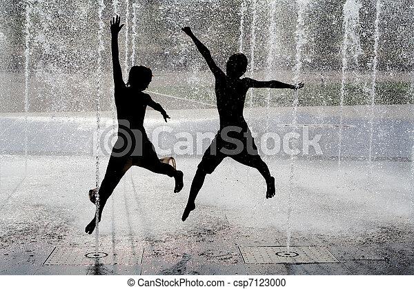 geitjes, silhouette, water, springt, fontijn, koel - csp7123000