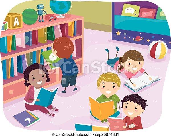 geitjes, stickman, lezende , preschool, tijd - csp25874331