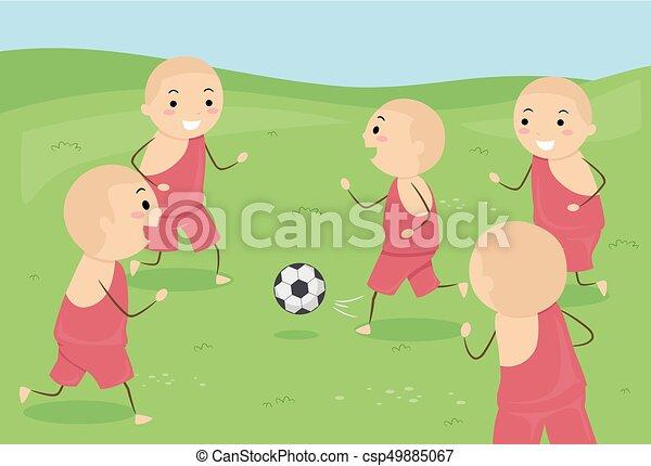 geitjes, stickman, monnik, illustratie, jongens, voetbal - csp49885067