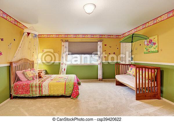 Geitjes, vloer, geel groen, tonen, slaapkamer, tapijt. Geitjes, usa ...