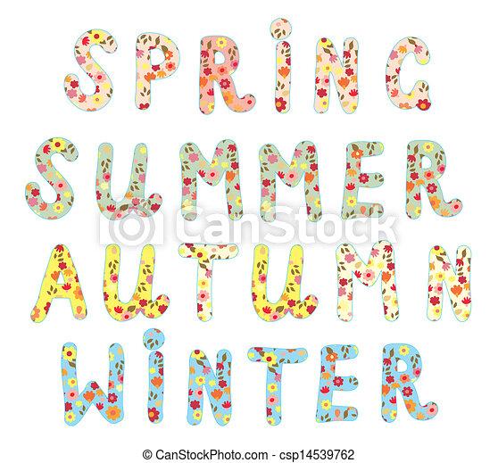 gekke , alfabet, etiketten, namen, floral, jaargetijden.
