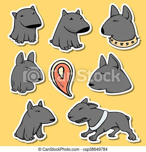 gekke , dieren, pitbull., cartoon., doodle, sticker, karakters