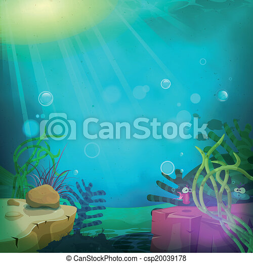 gekke , duikboot, landscape, oceaan - csp20039178