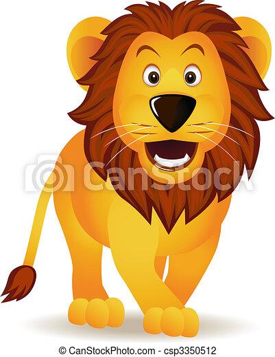 gekke , leeuw, spotprent - csp3350512