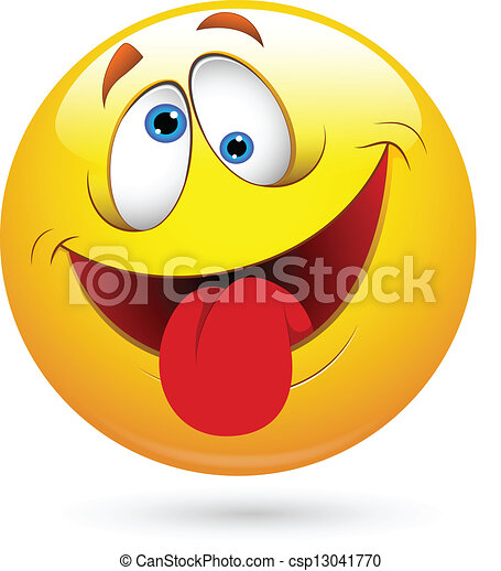 gekke , smileygezicht, vector, tong uit - csp13041770