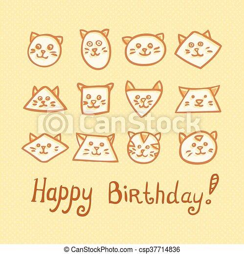 Gekke Snuiten Gele Kat Achtergrond Verjaardag Kaart
