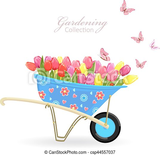 gekke   tuinieren  tuin  tulpen  butterflies   kruiwagen watering can clipart free watering can clipart black and white