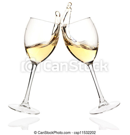 geklirr brille, weißwein - csp11532202