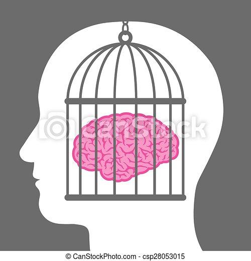 gekooide, hoofd, mannelijke , binnen, hersenen - csp28053015