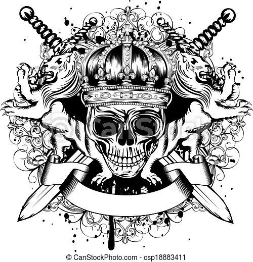 gekreuzt, krone, schwerter, totenschädel, loewen - csp18883411