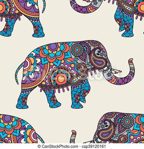 gekritzel indischer elefant seamless muster indische clipart vektor suchen sie nach. Black Bedroom Furniture Sets. Home Design Ideas