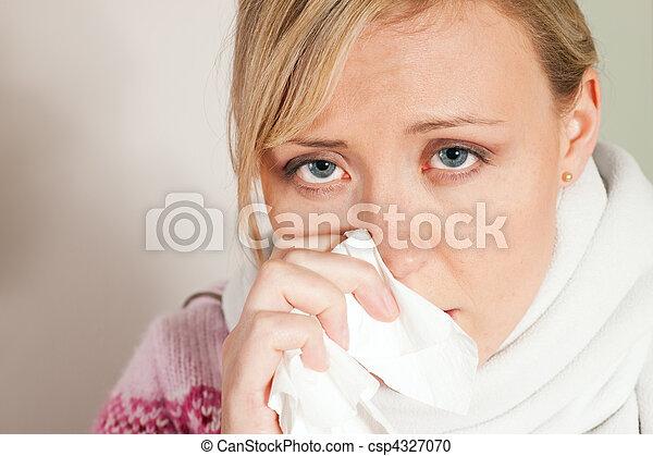 gelado, mulher, gripe, ou, tendo - csp4327070