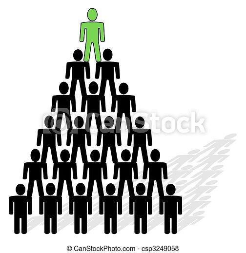 Pyramide aus Menschen - Team und Anführer auf der Spitze der Pyramide. - csp3249058