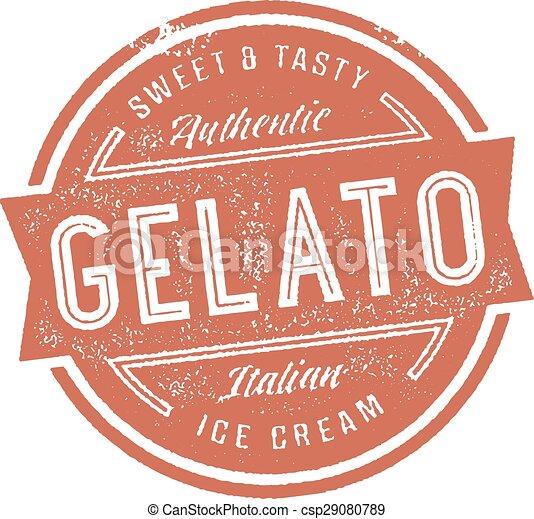gelato, estampilla, helado - csp29080789