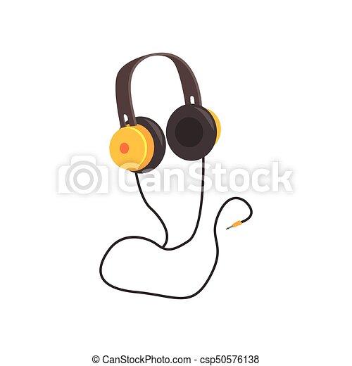 Gelber , vektor, kopfhörer, karikatur, abbildung. Kopfhörer, gelber ...