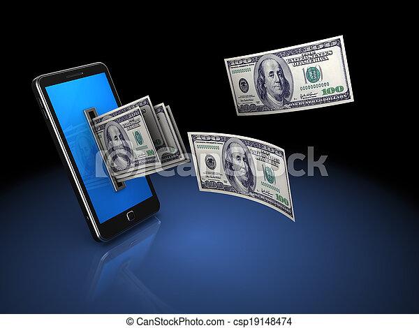 geld, telefon - csp19148474