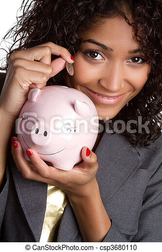 geld, vrouw, besparing - csp3680110