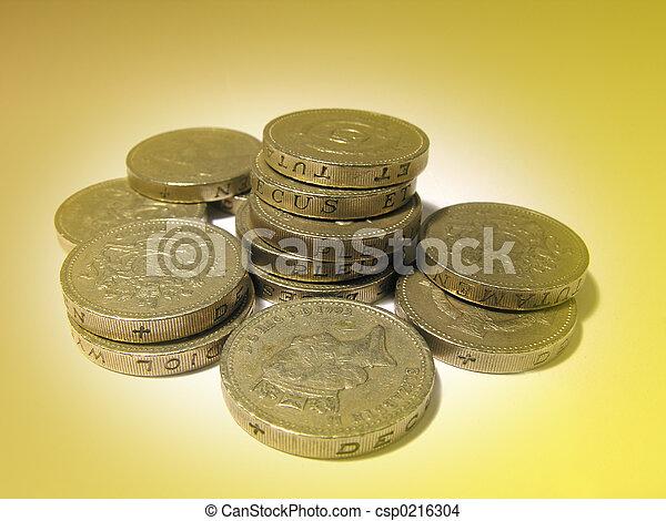 Geldmünzen Englisches Geldmünzen Pfund Hintergrund Gold