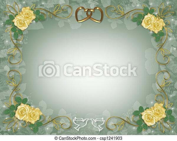 gele, trouwfeest, rozen, uitnodiging - csp1241903
