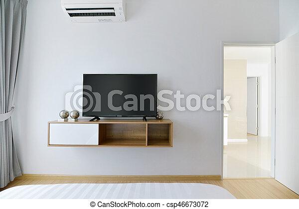 Geleide, tv, plank, moderne, muur, slaapkamer, houten, witte ...