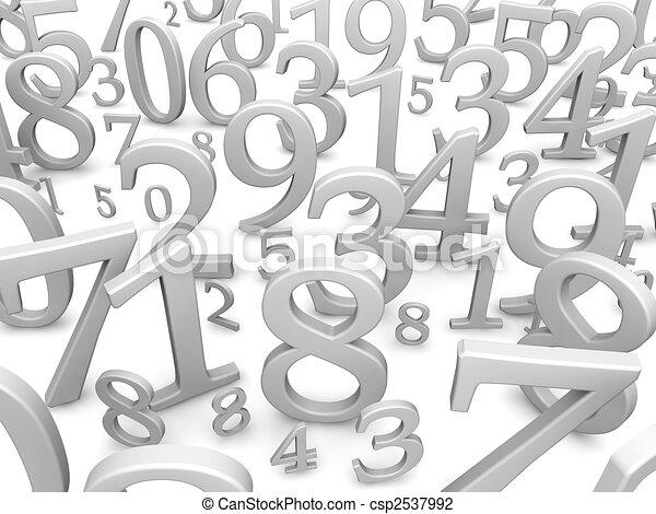 Schwarze und weiße Zahlen. 3D illustriert - csp2537992