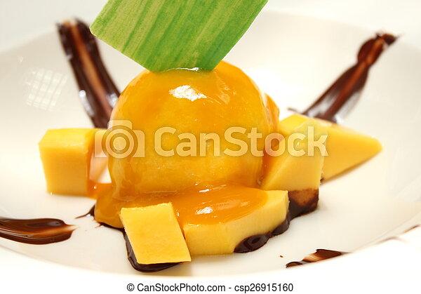 gelo, manga, caseiro, fresco, mangos., creme - csp26915160