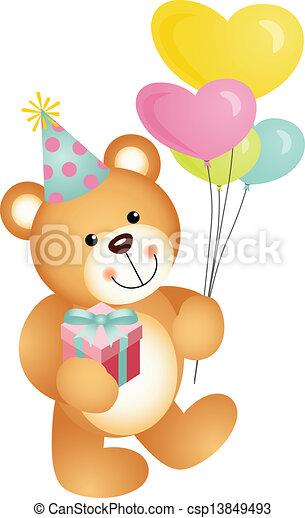 gelukkige verjaardag, beer, teddy - csp13849493