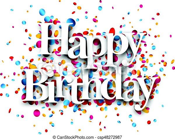 Kaart Verjaardag.Gelukkige Verjaardag Kaart Confetti Vector Illustration