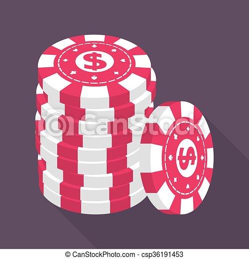 geluksspelletjes, casino spaanders, stapel - csp36191453