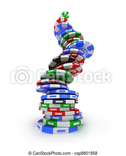geluksspelletjes, pokerchips - csp8801958