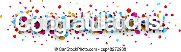 gelukwens, papier, spandoek, confetti. - csp48272988